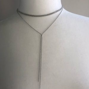 Women's silver chain layered necklace